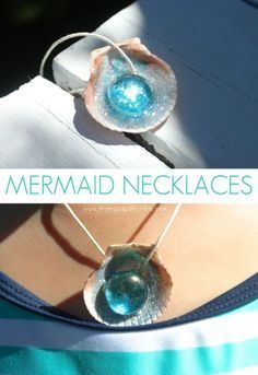 DIY Mermaid Necklace Tutorial from Mama.Papa.Bubba. Make this cheap and easy DIY Mermaid Necklace with just a few craft supplies. *This is a kid friendly DIY.* To make a Mermaid Necklace, all you need are:  Seashells  Glitter Glue Glass Gems from the Dollar Store Glitter Something to hang the seashells on like hemp cord or shoelaces   For more DIY Kids Jewelry go here: unicornhatparty.com/tagged/jewelry and for more DIY Halloween Jewelry go here: halloweencrafts.tumblr.com/tagged/jewelry