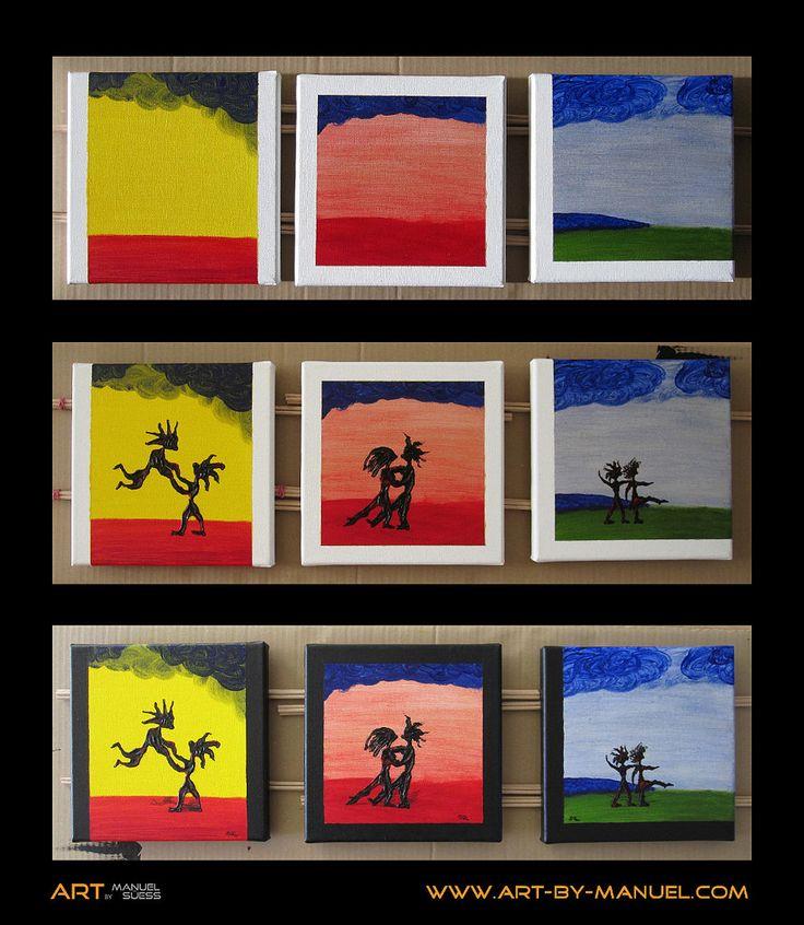 https://flic.kr/p/CAjtfC | Kleine Tanzmalereien von Manuel Süess | Die drei kleinen Tanzmalereien Nr. 749 Jiipii!, Nr. 750 Tango II und Nr. 751 Auf der Wiese. Tanzen! während ihrer Entstehung. http://art-by-manuel.com