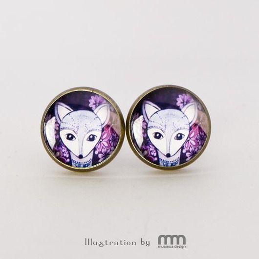 kolczyki - szkło-Violet kolczyki wkrętki