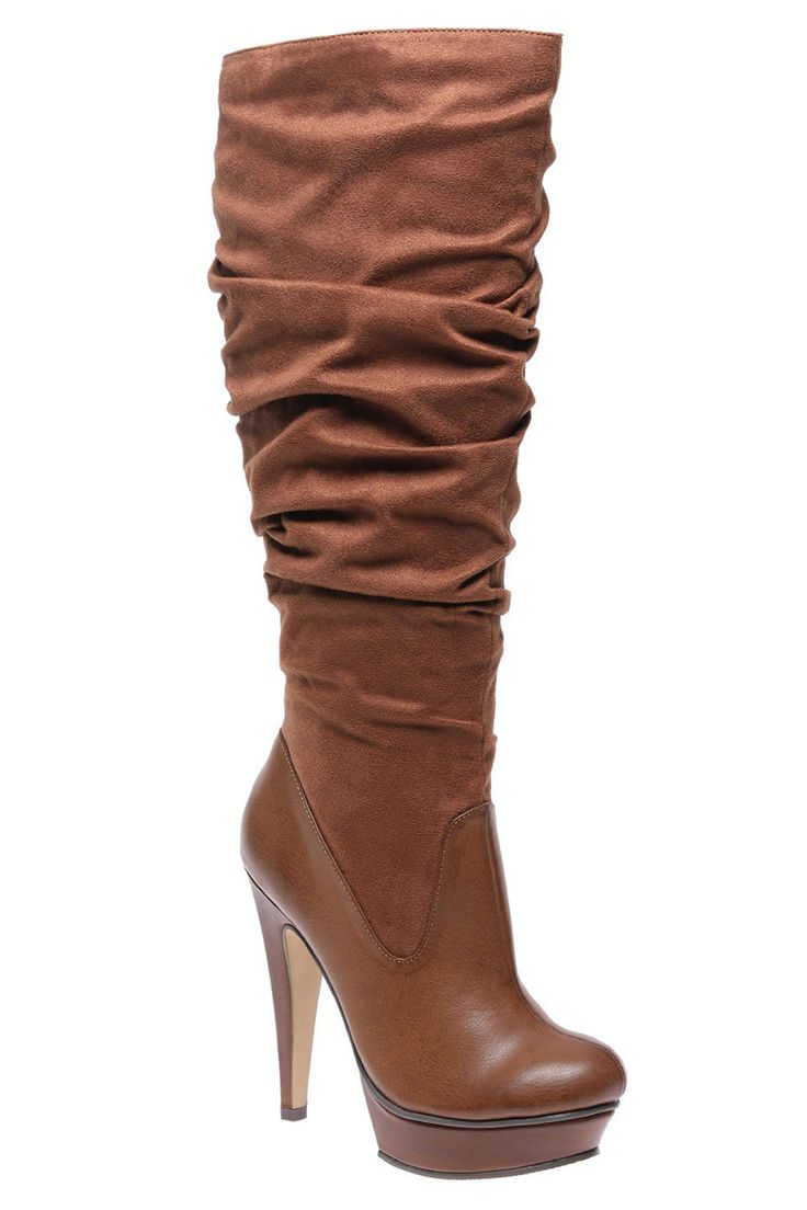 Michael Antonio Barstow Faux Suede Knee High Boots In Cognac - Beyond the Rack $29.99