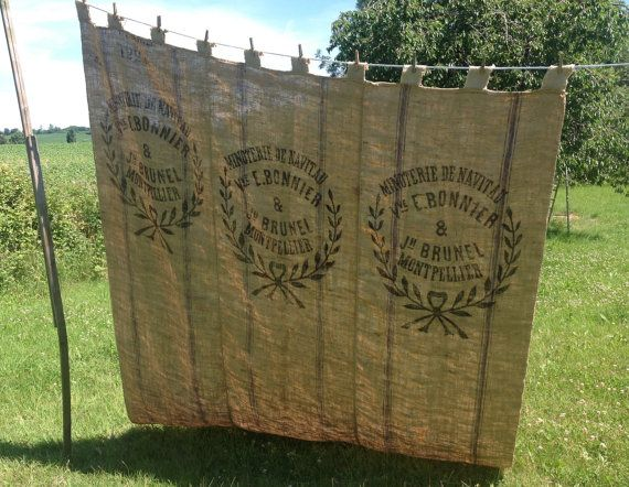 FRENCH GRAINSACK CURTAIN rustic antique burlap by Lilylovesroses 21000  Blue French Cottage