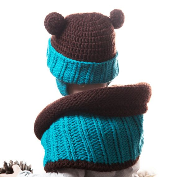 Blue and Brown Bear Baby Crochet Animal double by OneHatStore