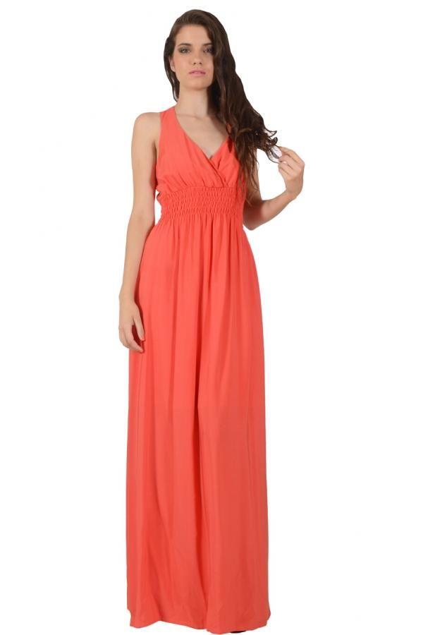Φόρεμα μακρύ μονόχρωμο σε άνετη γραμμή με σούρα κάτω από το στήθος και μοτίφ δαντέλα στην πλάτη