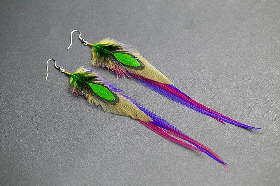 Colorful earrings Feather jewelry Summer earrings Festival jewelry Beach Hippie earrings Bohemian jewelry Lightweight earrings Boho Feathers