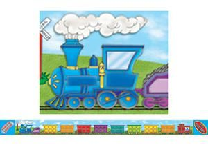 All Aboard Colorful Train Bulletin Board Border, Straight