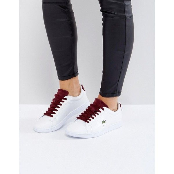 Lacoste Carnaby Evo 317 1 Trainers In White With Blue Counter (€83) ❤ liked on Polyvore featuring shoes, sneakers, white, white lace up sneakers, tennis trainer, slip on tennis shoes, blue sneakers and canvas lace up sneakers