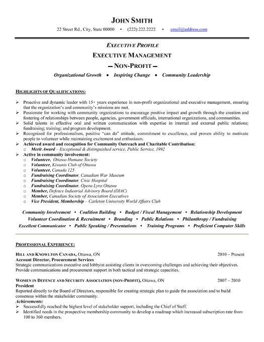 executive profile resume resume sample