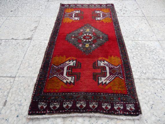 Bohemian Turkish Oushak Rug Boho Small Carpet Vintage