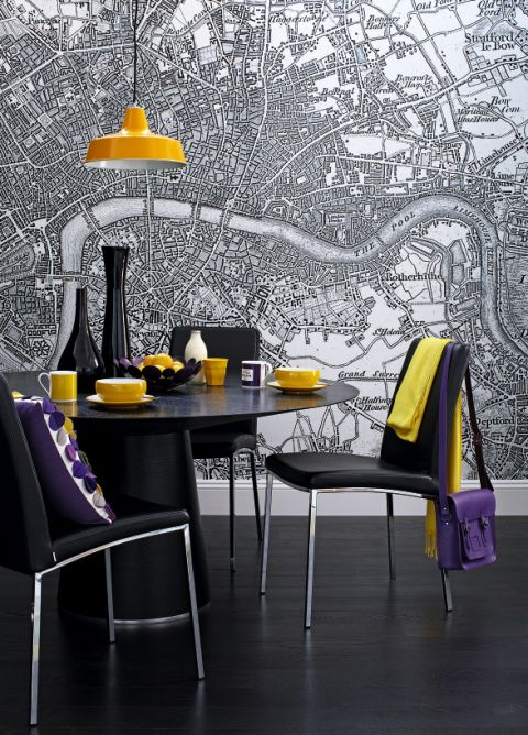 3 black yellow quirky dining room map wall mural the for Quirky dining room ideas