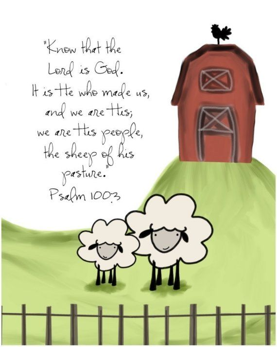 Psalm 100 Sheep of His Pasture 8 by 10 print by EmilyBurgerDesigns