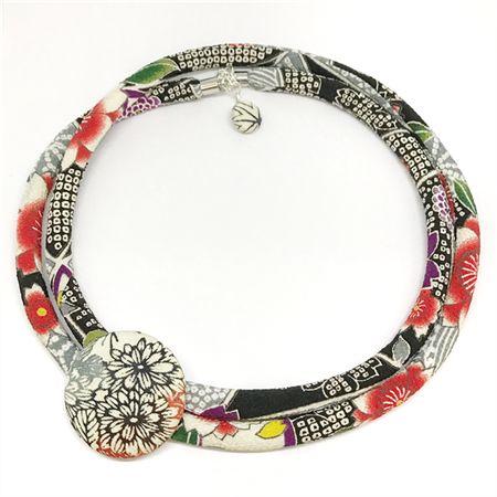 Kimono Cord Necklace Florals with Black