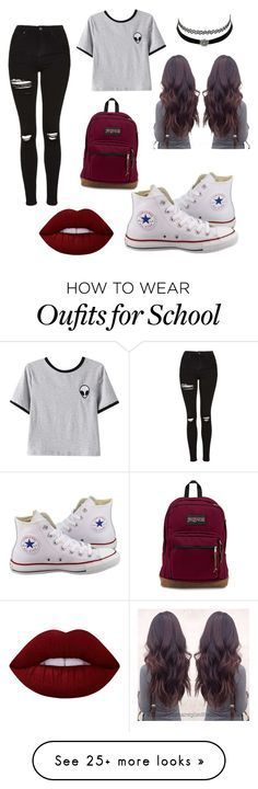 """""""outfit for school"""" by pxrlx on Polyvore featuring Converse, Chicnova Fashion, Topshop, Charlotte Russe and Lime Crime"""