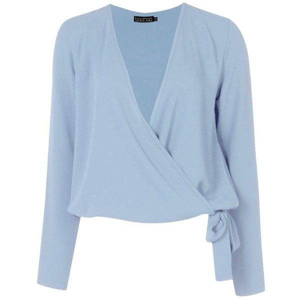 Boohoo Lucy Wrap Over Blouse (244.135 IDR) ❤ liked on Polyvore featuring tops, blouses, off-shoulder tops, blue off the shoulder top, crop tops, wrap crop top and blue blouse