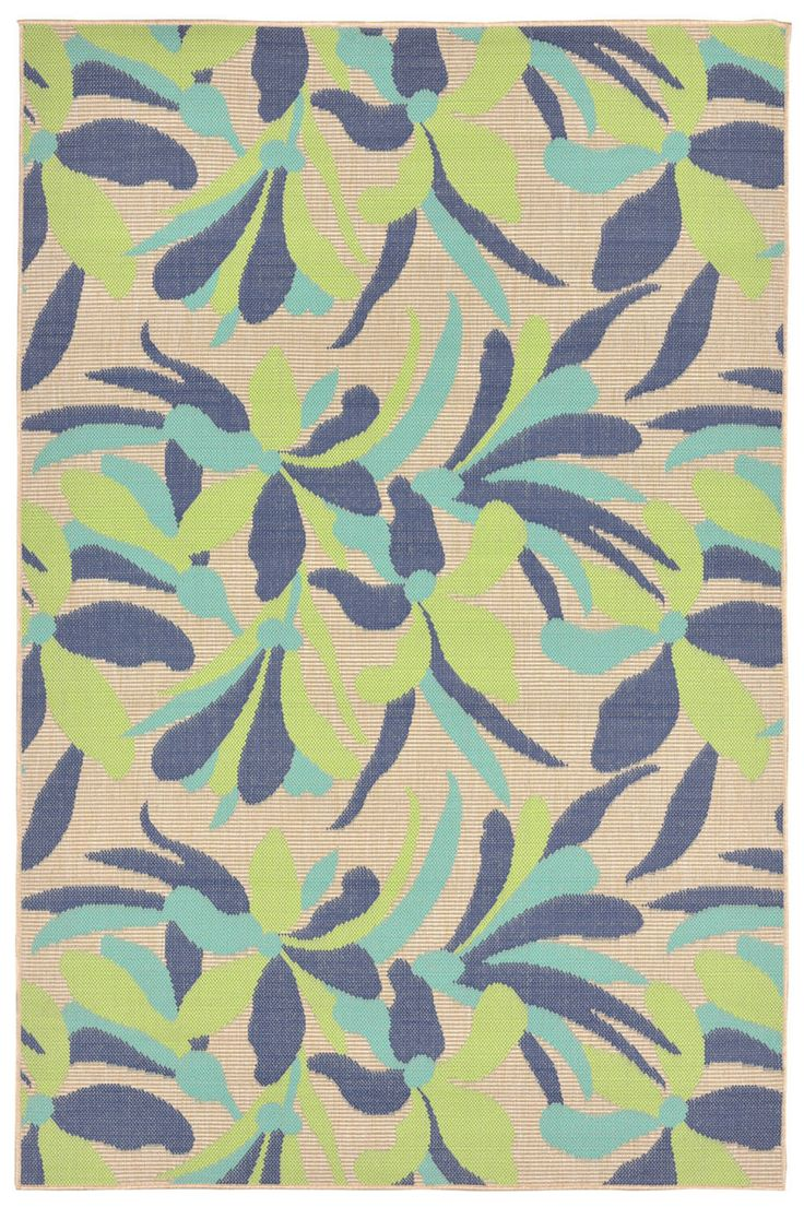 playa floral tropical area rug  cool blues  tropical area rugs -