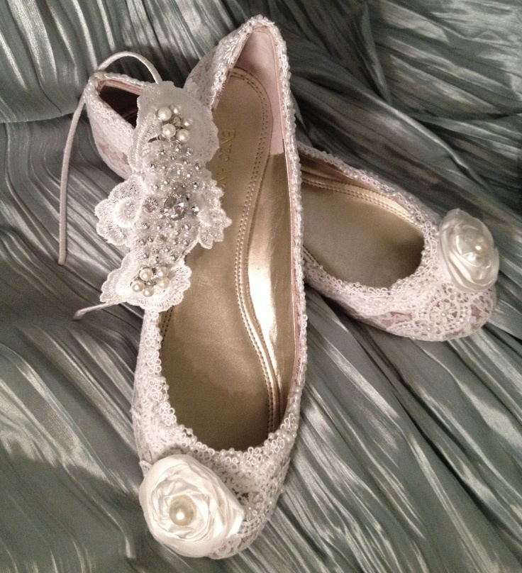 $185  Prices will vary - may be lower or higher depending on order requests.  Gorgeous upcycled flats custom embellished with lace, pearls among other materials for a vintage/shabby chic bride to wear on her big day.    Have shoes you want bedazzled, or made one of a kind for your special day? Send them my way! If you don't have your shoes picked out yet, I can purchase them for you and work my magic just as you want them!    Custom Made to Order Headband is 50 dollars and is sold…