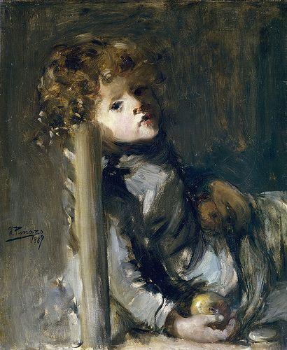 Ignacio Pinazo Camarlench - The Artist's Son Seated [1887]