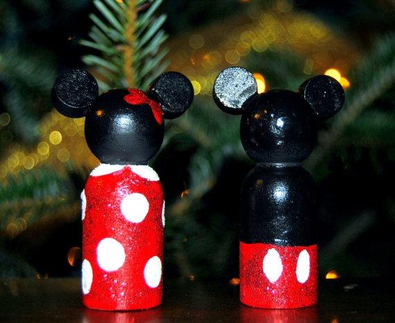Mickey and Minie peg people