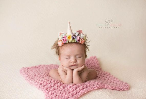 Tristan  newborn infant unicorn horn pastel rainbow flower