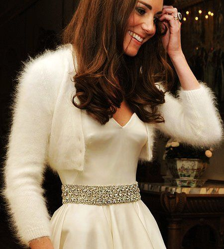 White Angora Cardigan  Bridal Bolero hand knit inspired by Royal Wedding Kate Middleton wedding dress