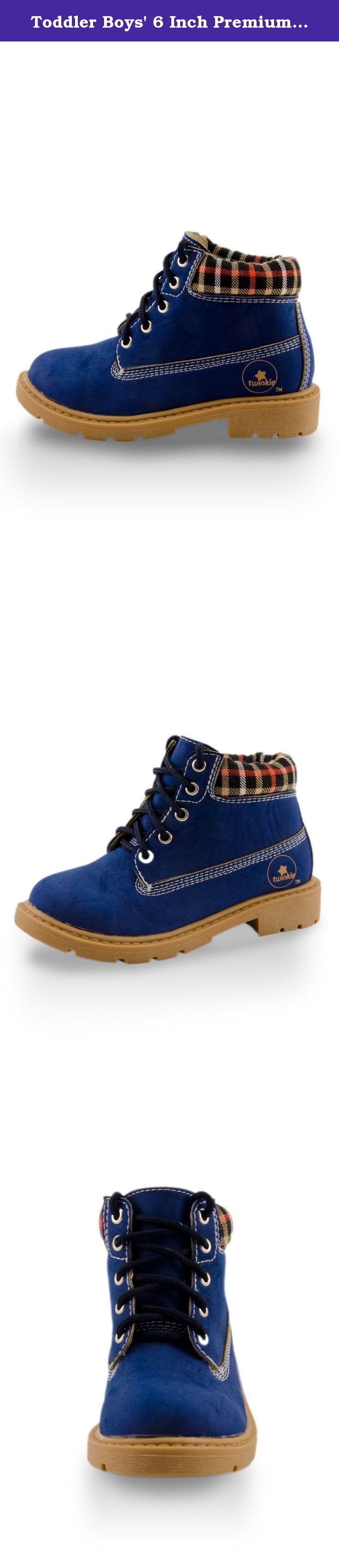 Toddler Boys' 6 Inch Premium Boots Navy Blue 4. Trendy and practical, these 6 inch premium lace up boots will give your little one the fashion-flair reminiscent of Timberland-style boots. Ideal for formal or casual occasions, these shoes will have your toddler looking spiffier than ever!.