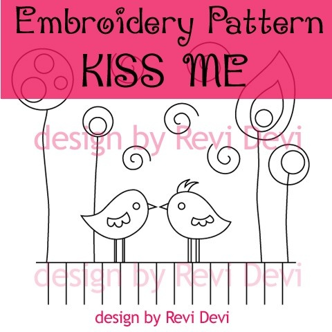 Kiss Me 15025 - Cute Embroidery Pattern - PDF download - Lovely design for…