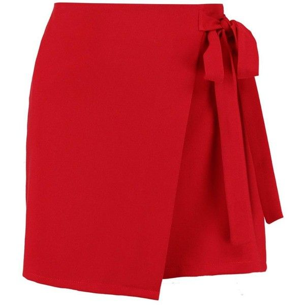 Boohoo Zeta Wrap Tie Front Woven Mini Skirt (28 PEN) ❤ liked on Polyvore featuring skirts, mini skirts, red midi skirt, short pleated skirt, maxi skirts and short maxi skirt