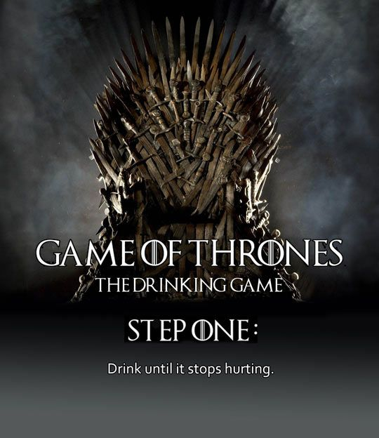 Game of Thrones, the drinking game. Yep. That's about right.