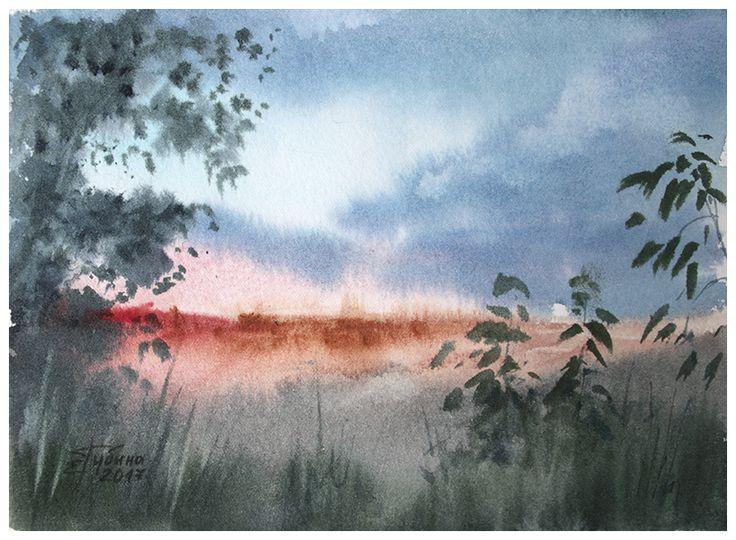 «Вечер, миниатюра» живопись акварелью Екатерины Губиной