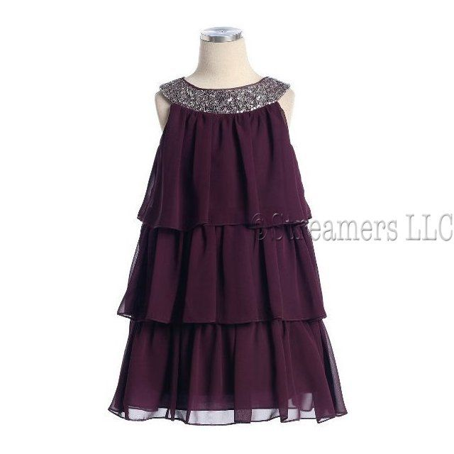 IF YOU HAPPEN TO KNOW WHAT THIS COLLAR/NECKLINE SHAPE IS CALLED.... would you please comment here? Tween Girl Dresses, Sassy Girls Dress Sizes 7-16, Knee Length Three Tier Chiffon Dress with Sequin Trim at Neckline,