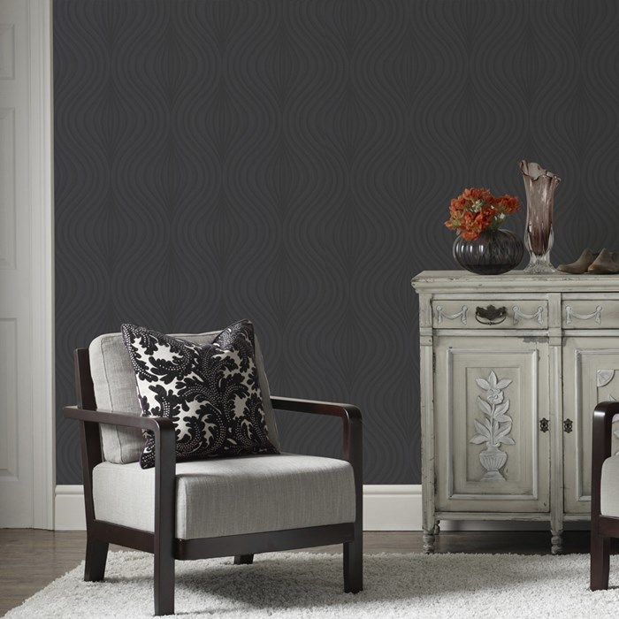Zara Black Wallpaper - Black Geometric Wall Coverings by Graham  Brown
