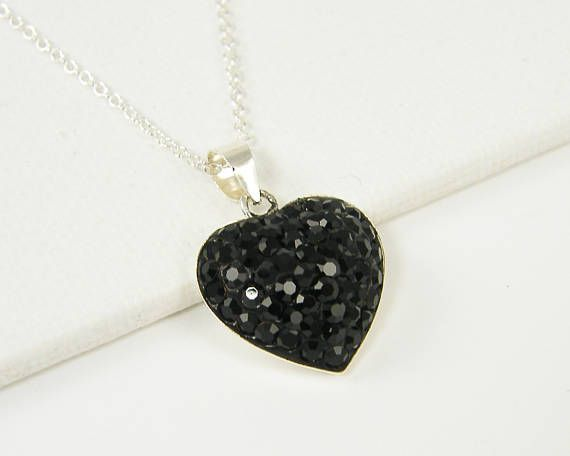 Black Rhinestone Heart Necklace Sterling Silver Heart Pendant