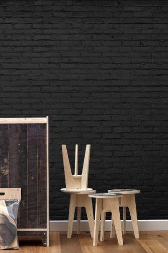 Studio Job & NLXL Archives Wallpaper Collection - Black Brick Wallpaper by Piet Hein Eek