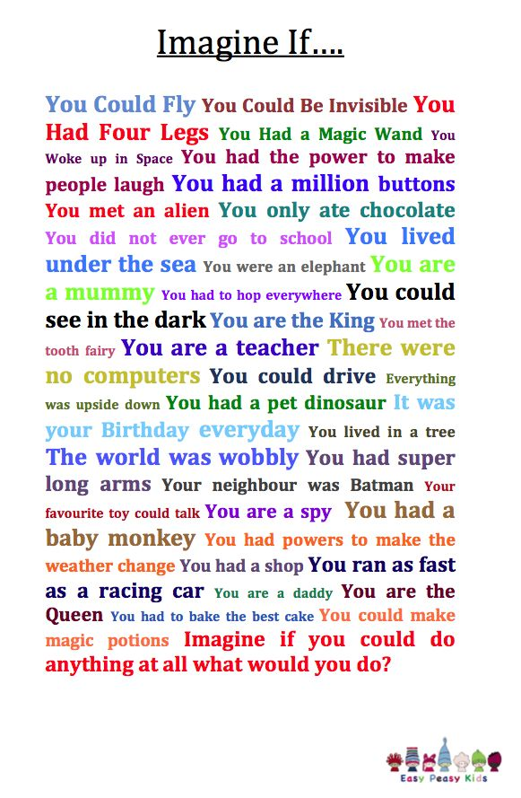 writing prompts, or conversation starters! Imagine If........ writing prompts http://www.easypeasykids.com.au/wpblog/2012/04/30/a-childs-imagination-is-an-insight-to-their-world-from-the-best-toy-ever-to-talking-with-aliens/