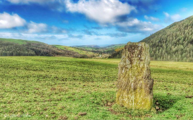 One of the 2 standing stones near Cwmdarren. Trefeurig.