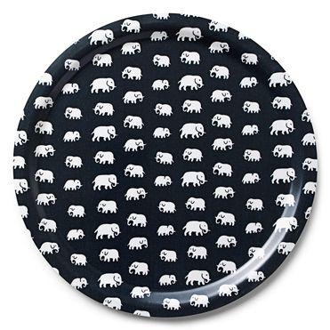 Bricka Rund Svart Elefant
