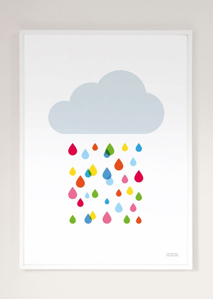 Multicoloured Rain Cloud Print | Kids Multicoloured Rain Cloud Poster | Children's Wall Art | Showler & Showler