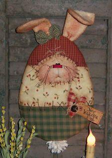Primitive Pattern Doll Easter Rabbit Bunny Folk Art
