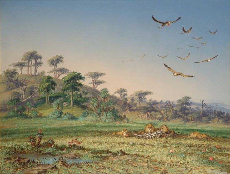 Thomas Baines, Lion and Dead Quagga, Zululand, 1874, olie op doek, 505 x 660 mm