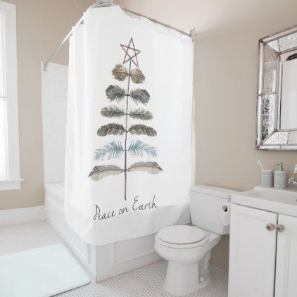 modern vintage rustic winter feather tree shower curtain - rustic gifts ideas customize personalize