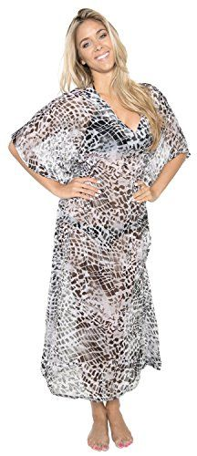 La Leela Animal Skin Printed Sheer Chiffon Long Tube Beach Cover up Grey - Large. Do YOU want COVER UPS in other colors Like Red | Pink | Orange | Violet | Purple | Yellow | Green | Turquoise | Blue | Teal | Black | Grey | White | Maroon | Brown | Mustard | Navy ,Please click on BRAND NAME LA LEELA above TITLE OR Search for LA LEELA in Search Bar of Amazon. STRETCHABLE Elastic gives YOU an ADJUSTABLE and COMFORTABLE Fit. US SIZE : From Regular 10 (M) TO 14 (L) ➤ UK SIZE : FROM REGULAR 14 (M)…
