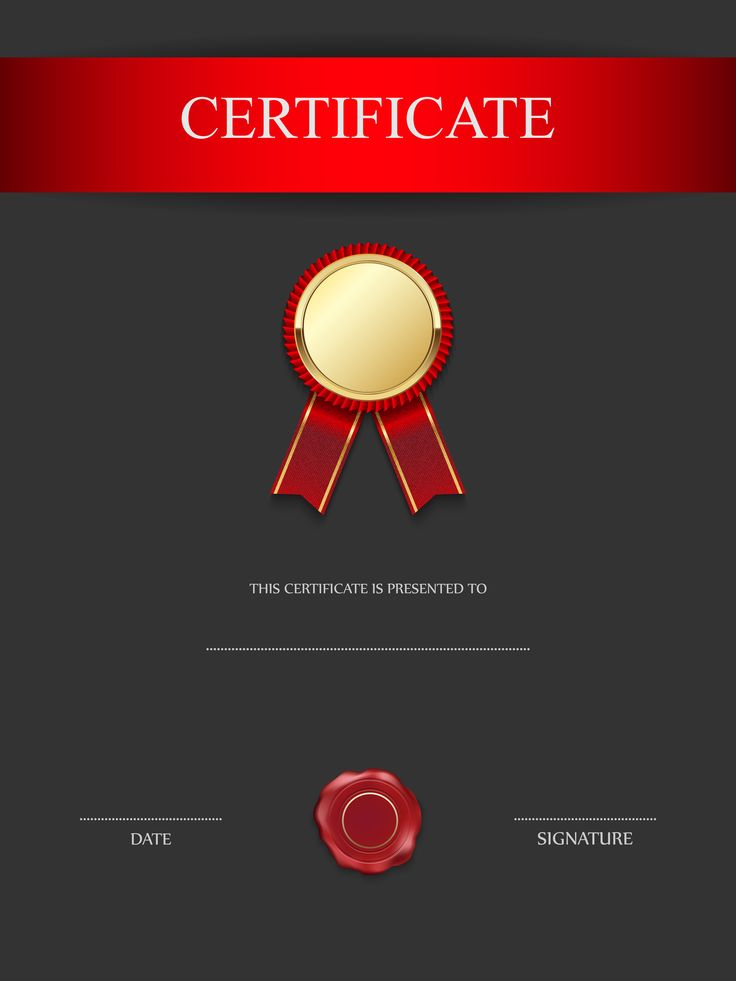 Red and Black Certificate Template PNG Image
