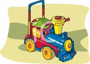 Riding Toy Trains Toddlers Clipart - Free Clip Art Images