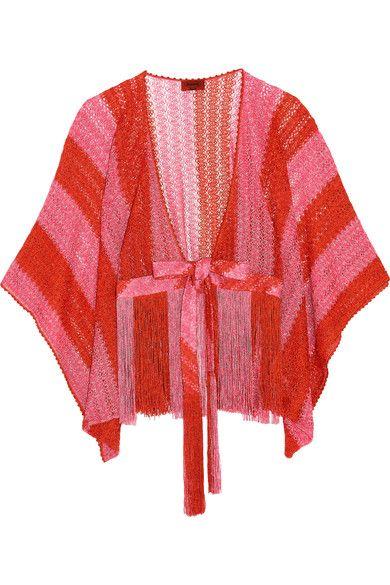 Missoni - Mare Fringed Metallic Crochet-knit Kimono - Bubblegum - IT38