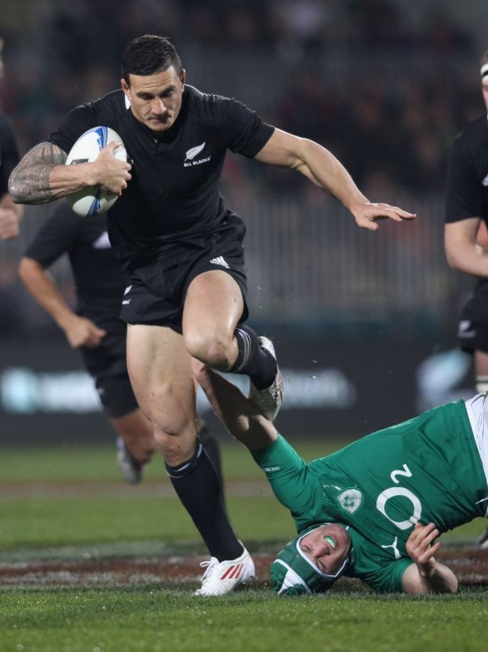 Out of my way ... Sonny Bill Williams tramples over Sean O'Brien