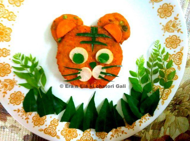 Cute Tiger made from cutlet... looks easy to make with stuff easily available at home