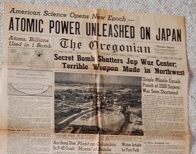 The atom bomb in Japan...: Newspaper Headline