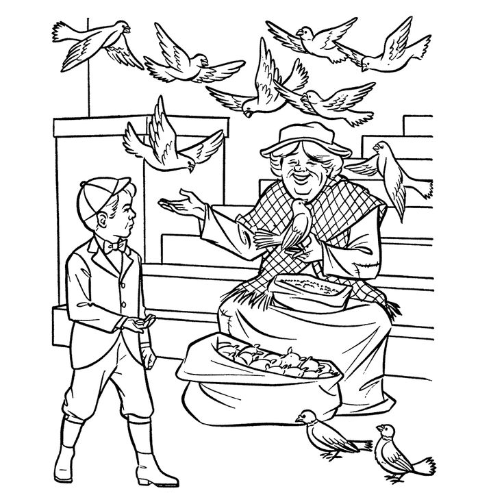 9 best Coloring Pages (Mary Poppins) images on Pinterest | Coloring ...