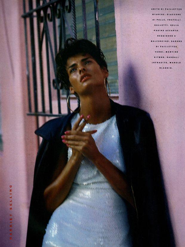 Linda Evangelista shot by Steven Meisel for Vogue Italia, February 1989