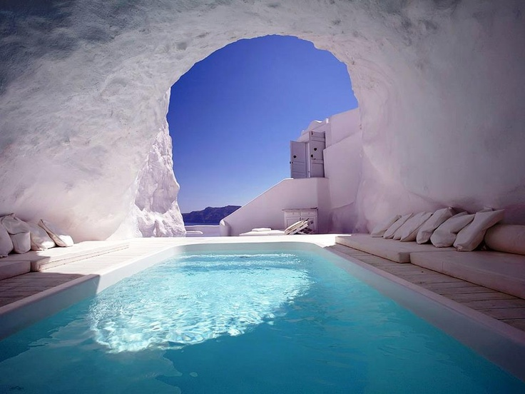 Travel Picture of the Day: Natural Cave Pool, Santorini, Greece    http://www.globalhotelexchange.com... pinned with Pinvolve