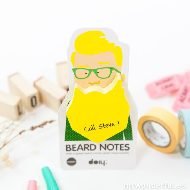 Notas adhesivas con forma de barba - Color amarillo #mrwonderflshop #notes